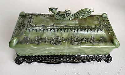 VINTAGE CHINESE CARVED Rooster + Dragons_Green Marbled Plastic Rectangular Box