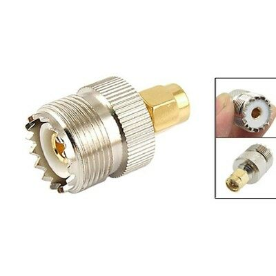 GOLD UHF Female to SMA Male Coax Cable Adapter mtl