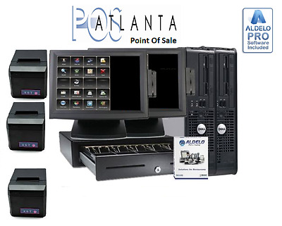 ALDELO POS 2013 RESTAURANT COMPLETE SYSTEM 2 Stations Windows 7 Pro NEW