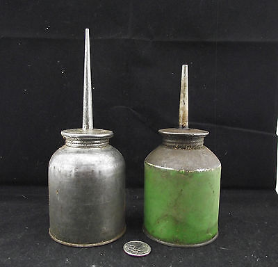 2 Antique Oiler Oil Tins 1 Green 1 Made In Canada Not Singer Sewing Machine Size
