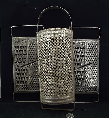 3 Vintage Metal Graters 2 Matching  All In One Grater &  Nice Curved One