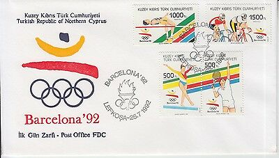 Tennis Turkish Northern Cyprus 1992 Olympics FDC Cycling Athletics