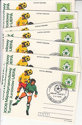 Soccer football Poland 7 cards with different postmarks
