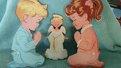 Vintage 1950s Praying Boy and Girl w/ Angel Wall Hanging The Dolly Co Lot of 5