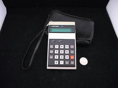 Vintage Working Green Display Calculator Unitrex 801 D Original Protective Case