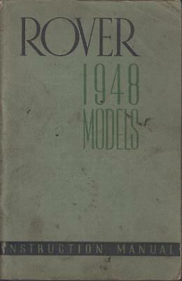 Rover P3 60 & 75 4- & 6-Light Saloon Orig.1948 Factory Owners Instruction Manual