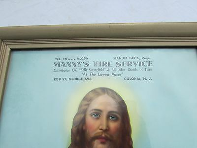 Vintage Advertising Poster Manny's Tire Service Colonia, NJ with Jesus