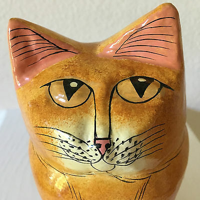 Vintage Fat Yellow Cat Figural Trinket Box Paper Mache Hand Painted in India EUC