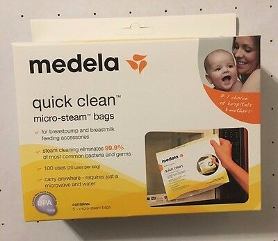 Medela Quick Clean Micro Steam Bags, 5 Pack     (New)