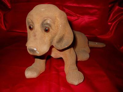 Vintage LARGE DACHSHUND Dog OLD NODDER Bobblehead Flocked ALL PARTS need re-glue