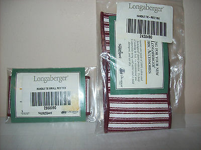 2 Longaberger Handle Ties Red Tick Small & Large