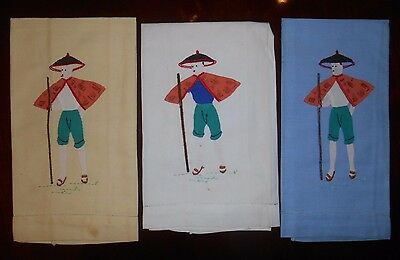 Vintage Towel Set of 3 Embroidered Applique Guest Hand Towel Asian Men Cotton
