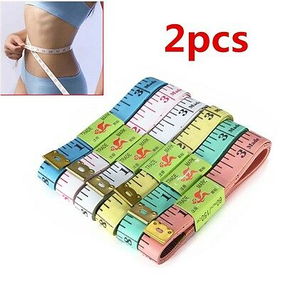"2x Body Measuring Sewing Cloth Tailor Tape Measure Soft Flat Ruler 60"" 150cm US"