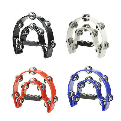 New Hand Held Handle Tambourine with Double Row Metal Jingles Percussion