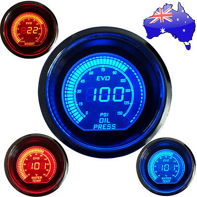 52mm Car Red/Blue LED Boost Meter / Water Tempture / Oil Press Gauge AU NSW 2017