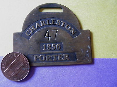 VTG Looking BRASS REPRODUCTION SLAVE TAG ID BADGE Charleston SC 1856 PORTER 47