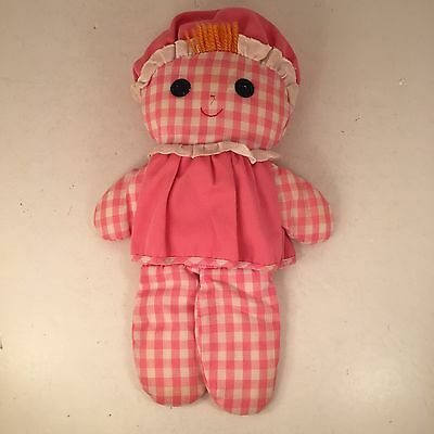 Vtg 1975 Fisher Price Lolly Doll Pink Gingham with Rattle