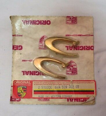 "NOS 64-65 Porsche 356 Gold ""C"" Emblems in Vintage Packaging - Made in W Germany"