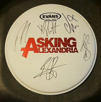 Rare! ASKING ALEXANDRIA Autographed Drumhead by All!