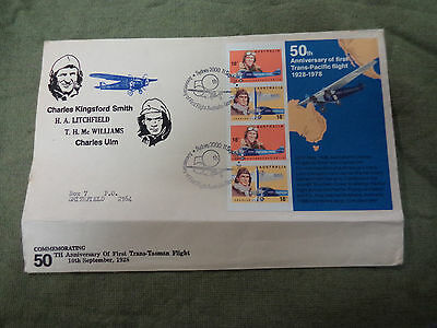 #D286. LARGE 1978  50th ANNIVERSAY TRANS-PACIFIC  STAMPED COVER, KINGSFORD SMITH