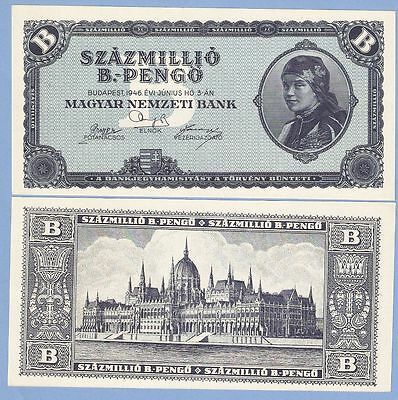 Hungary, 100 million (100000000) b.-pengo, 1946, UNC, P 136