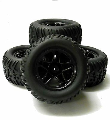 8098 1/10 Scale Monster Truck Wheel and Tyre Rim Black HSP x 4 Star