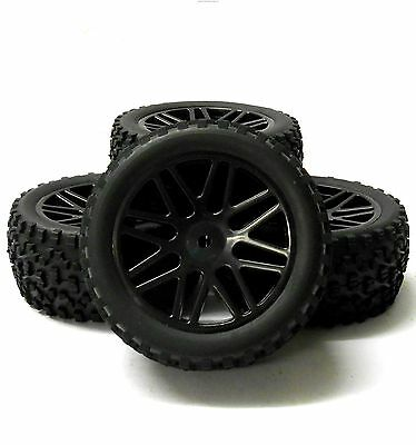 A66016/036 1/10 Off Road Front Rear Buggy RC Wheels Block Tyres 16 Spoke Black