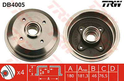 Ford 2x Brake Drums (Pair Set) Rear TRW DB4005 Genuine Quality Replacement New