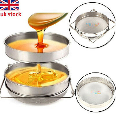 Big Stainless Steel Beekeeping Equipment Double Honey Strainer/ Filter Sieve Hot