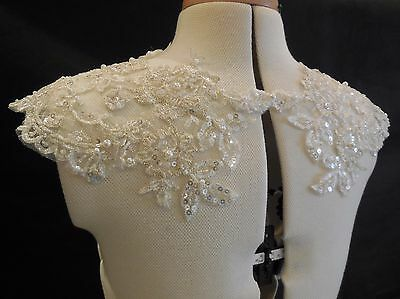 dark ivory bridal wedding beaded lace bolero bridal lace beaded shoulder straps