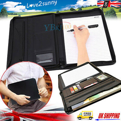 A4 Zipped Conference Folder Executive Business Leather Document Portfolio Case