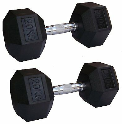 2 x EVINCO 20kg Rubber Encased Hex Hexagonal Dumbbells Pairs Sets Gym Weights