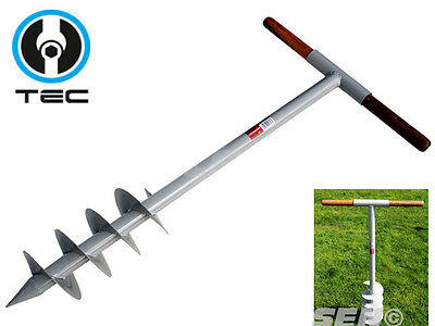 Post Hole Auger Silver Painted Ground Auger Hand Operated