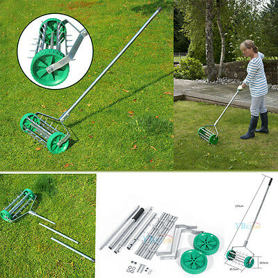 Heavy Duty Rolling Grass Outdoor Garden Lawn Aerator Roller & Aluminium Handle