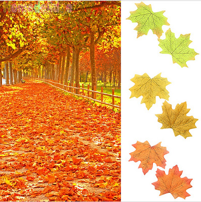 50Pcs Fall Silk Leaves Wedding Party Table Favor Autumn Maple Leaf Decorations