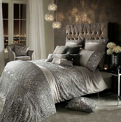 Kylie Minogue Esta Sequin Satin Silver King Size Cotton 7 Piece Bedding Set