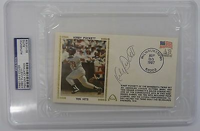 Kirby Puckett  Signed Autographed Postcard Slabbed PSA DNA AUTO