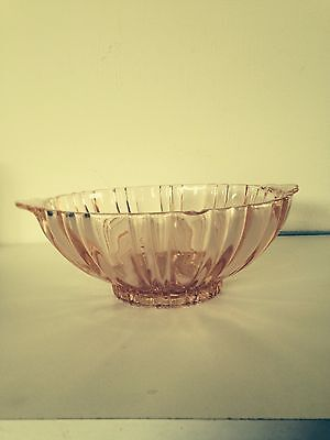 Pink depression glass Fortune bowl with handles