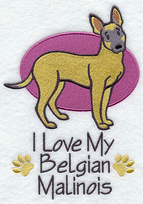 I Love My Belgian Malinois Dog SET OF 2 HAND TOWELS EMBROIDERED Beautiful