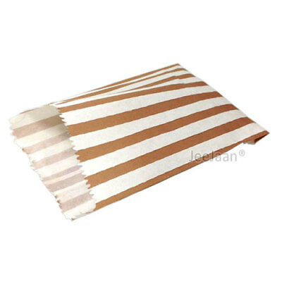 """100 Brown and White Candy Stripe Paper Sweet Bags Wedding 7""""X 9"""" Pick 'n' Mix"""