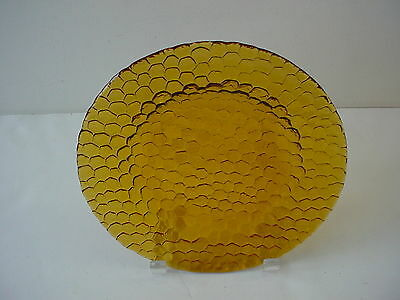 Brown Amber Glass Salad Plate with Hexagon Design