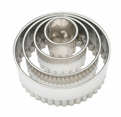 Harold Ateco Fluted Stainless Steel Round Cookie Biscuit Pastry Cutter, Set Of 4