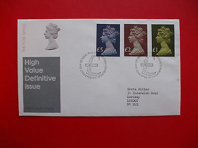 High Value Definitive 1St Day Cover, £5, £2, £1 Stamps