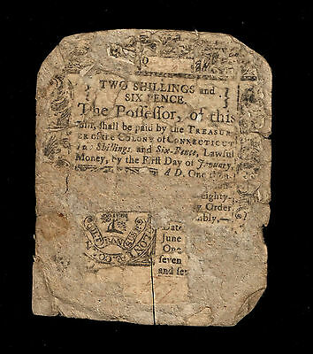 Connecticut Colonial Currency - June 19, 1776 - 2 Shillings 6 Pence