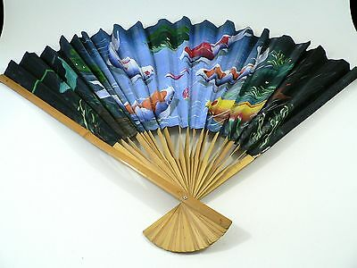 Handpainted Asian Fan Lots Colorful Carp Made Bamboo Aquatic Plants Grass Kelp