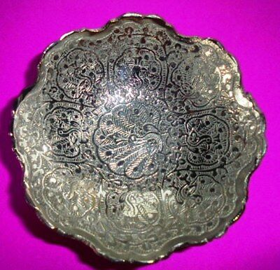 Set of 2 India Brass Decorative Vintage Snack Bowl Handicraft Home Decor Gift