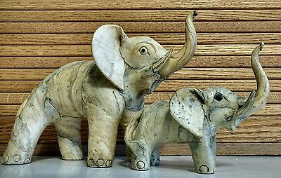 Elephant Trunk Up Good Luck Set Vintage Lacquered Marbled Paper Mache Figurines