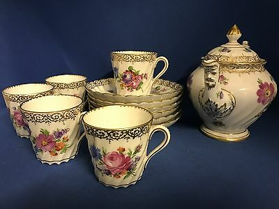 Early 20thC DRESDEN GERMANY Floral Tea Set TEAPOT 248 Demitasse Cups Saucers