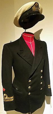 Fantastic Original WW2 40s Dated Royal Navy Officers Tunic & Hat Uniform Set