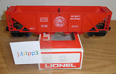 Lionel Postwar Original #6736 Detroit Mackinac Quad Hopper Car O Gauge Train D&m